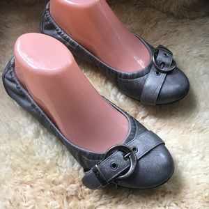 Authentic Dior Pewter Leather Ballet Flats 38 7.5M